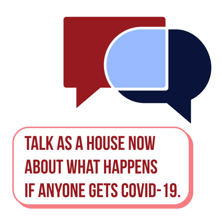 Talk as a house now about what happens if anyone gets covid.