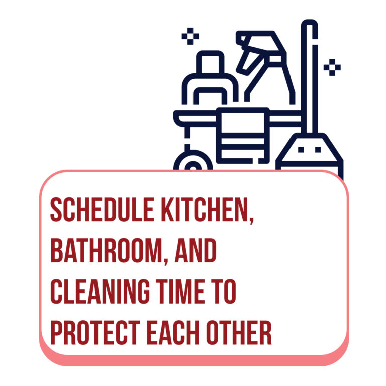 Schedule kitchen, bathroom, and cleaning time to protect each other