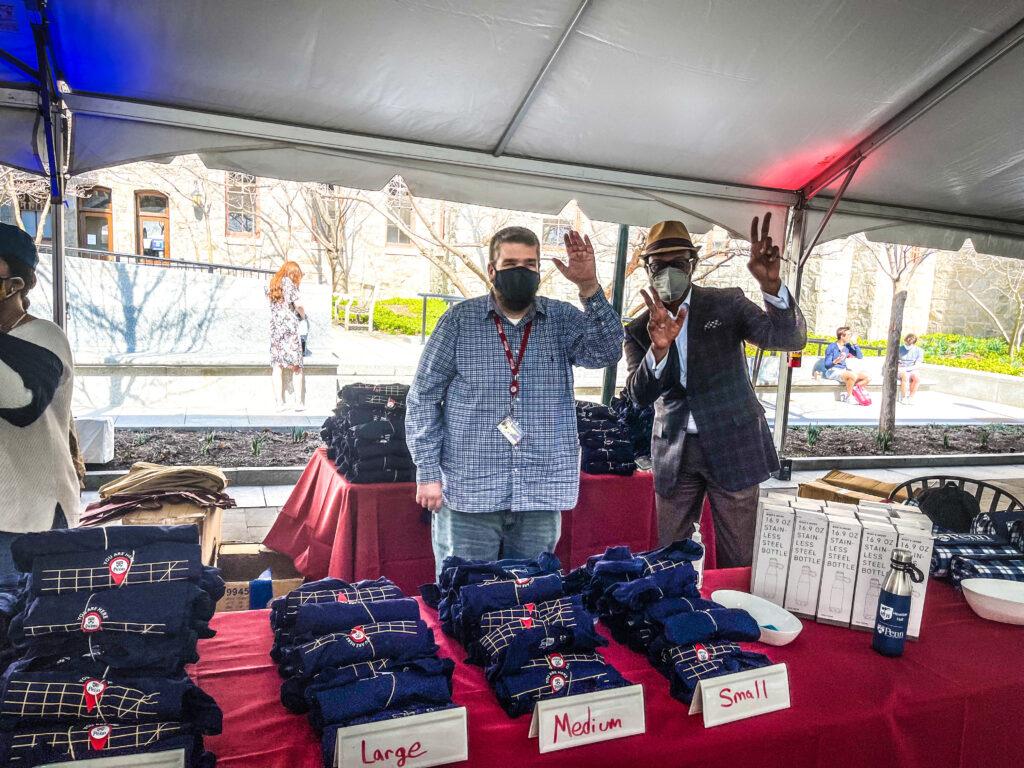 Staff giving away tshirts at the UNIVERSITY LIFE CAMPUS GRAB & GREET TREASURE HUNT