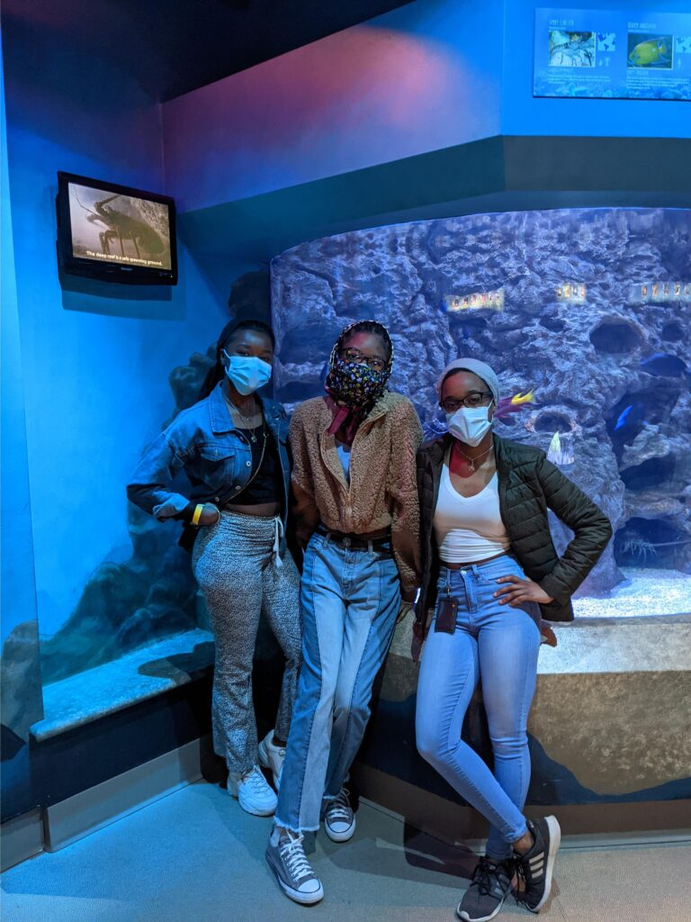 Three students posing at the Aquarium for Spring Stay 2021