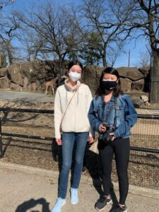Three students at the Philadelphia Zoo for Spring Stay 2021