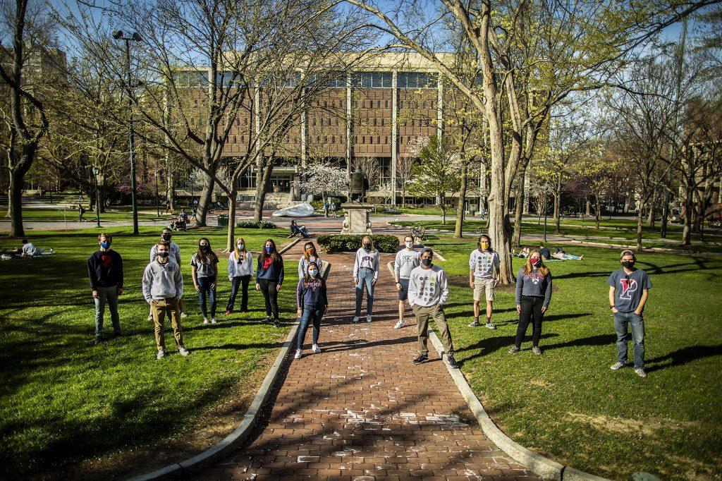 The Penn Glee Club and Penn Sirens board members on College Green in the week before the Glee Club's vote to merge.